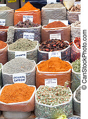 Spices and Herbs in Market - Market stall in Turgutreis...
