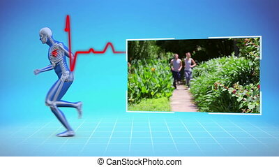 Montage of people working out on blue digital background...