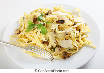 Pasta ai funghi with fork - Ribbon pasta with mushrooms and...