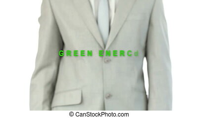 Businessman pressing the green energy button and buzz words...