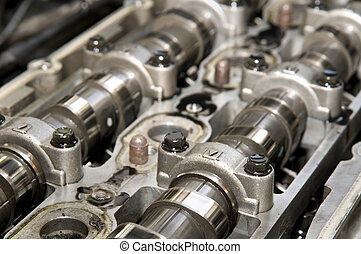 Camshaft - Close up of parts in engine head two camshaft...
