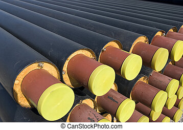 Pipes - Heap of steel tubes covered with foam and plastic