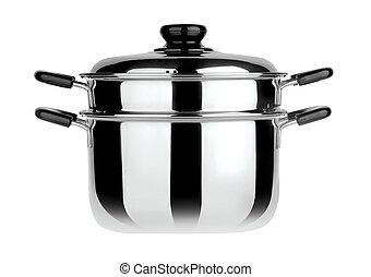 steamer pan on background - steamer pan on white background
