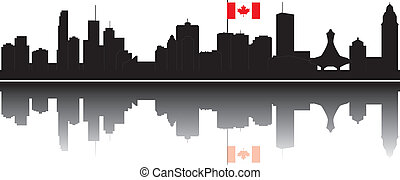 Montreal skyline - montreal skyline with church hotel en...
