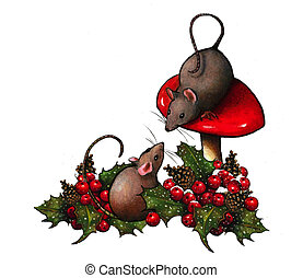 Two Mice With Toadstool and Holly - Two little mice wish...