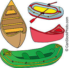Boats and ships collection - vector illustration.