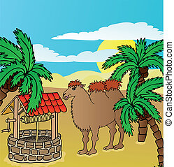 Camel and well - vector illustration.