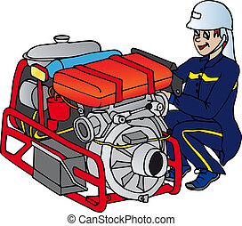 Fireman with machine - vector illustration