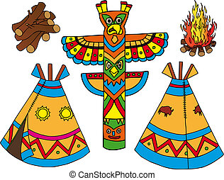 Indians tepees collection - vector illustration.