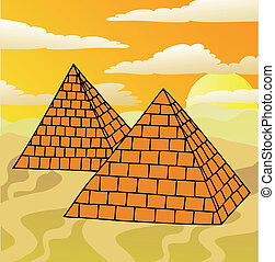 Scenery with pyramids - vector illustration.