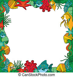 Sealife frame green - vector illustration.