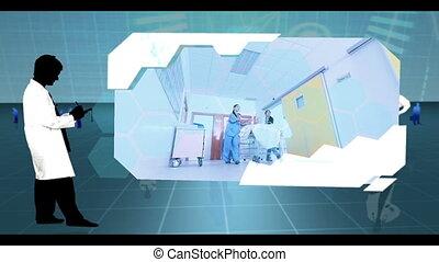 Montage of hospital clips on blue digital medical background