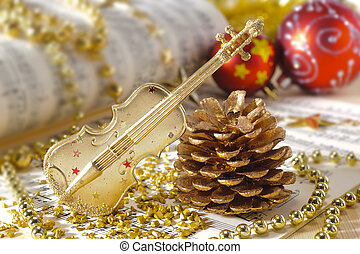 Christmas decoration with violin music instrument