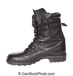 Black army boot isolated on white background