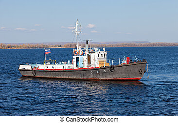 Small ship on river Volga near Samara, Russia