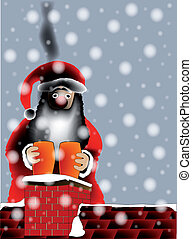 Sooty Santa - Father Christmas on a rooftop with a sooty...