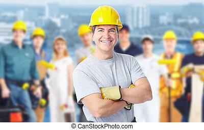 construcción, trabajador, hombre