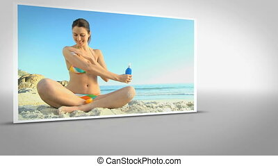 Video of woman on the beach - Video clip of woman on the...