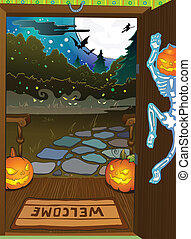 Halloween night background with trees fall colors -...