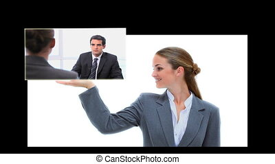 Businesswoman presenting clips of various business scenes on...