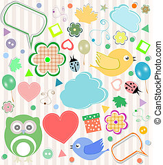 Set of vector elements - owls, birds, flowers, ladybugs