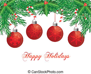 Christmas Tree Garland with Ornaments Illustration -...