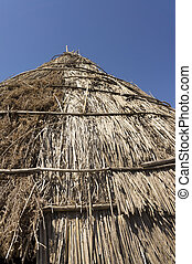 Traditional straw hut in greek country - Roof of a...