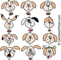 caricatura, perro, expresiones