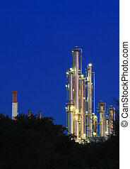 Oil Refinery plant area twilight