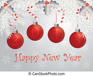 Happy New Year Garland with 2013 Ornaments Illustration -...