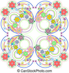 Seamless retro colourfull flower pattern in vector -...