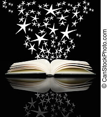 Open book and bright stars - An open book with many bright...
