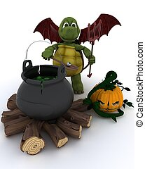 Deamon Tortoise with cauldron of eyeballs on log fire - 3D...