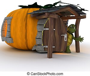 Tortoise in Halloween cottage - 3D render of tortoise in...