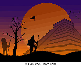 Ancient mayan warriors at Chichen Itza at sunset, vector...