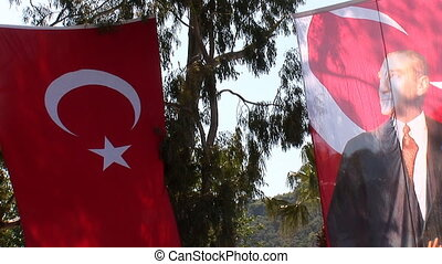 Ataturk flag - Turkish flag with a portrait of Ataturk