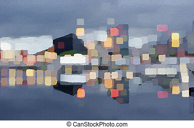 Cubic City Reflections - Abstract design expressions in...