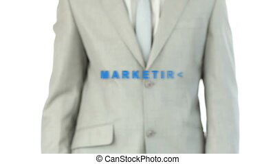 Business man touching the marketing - Businessman touching...
