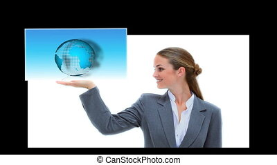 Businesswoman presenting world business coding and graph...