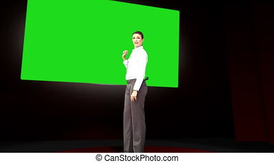 Businesswoman presenting something with copy space