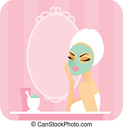 Skincare series-Mask - Young woman with a towel over her...