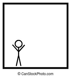 Stickman - Black stickman on white background in a black...