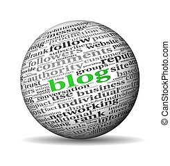 Blog concept in word tag cloud on 3d sphere