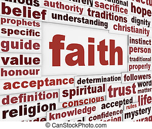 Faith message background. Religion poster conceptual design
