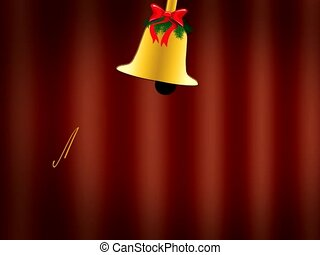 "Merry Christmas - Moving Christmas bell and the words ""Merry..."