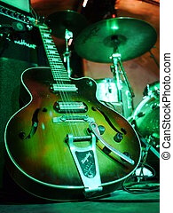 Guitar stage electric - Electric solo guitar strings on a...