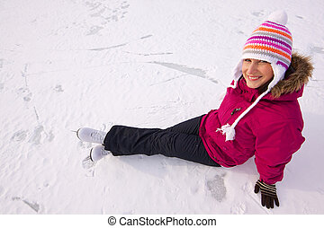 Girl with ice skates - Smiling young woman with ice skates...