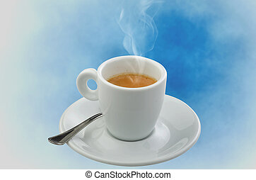 Coffee smoking on the blue sky background