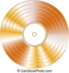 gold vinyl record isolated on white vector background - gold...