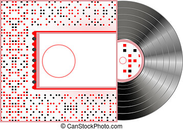 Vinyl and cover over a white background, abstract art